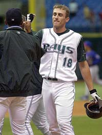 i couldn't find a picture of the injury, so i figured him in a devil rays uniform is just as upsetting